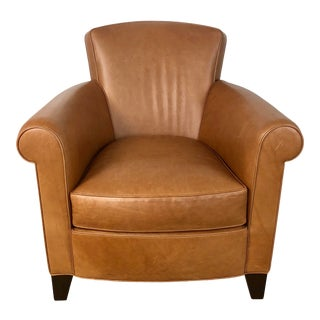 Holly Hunt Studio H Leather Roll Arm Club Chair For Sale