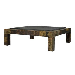 Paul Evans for Directional Brutalist Patchwork Metal Coffee Table For Sale