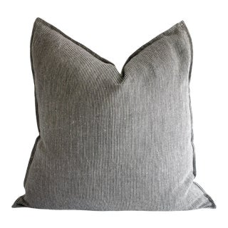 Black and Tan Minimalist Natural Linen Striped Pillow For Sale