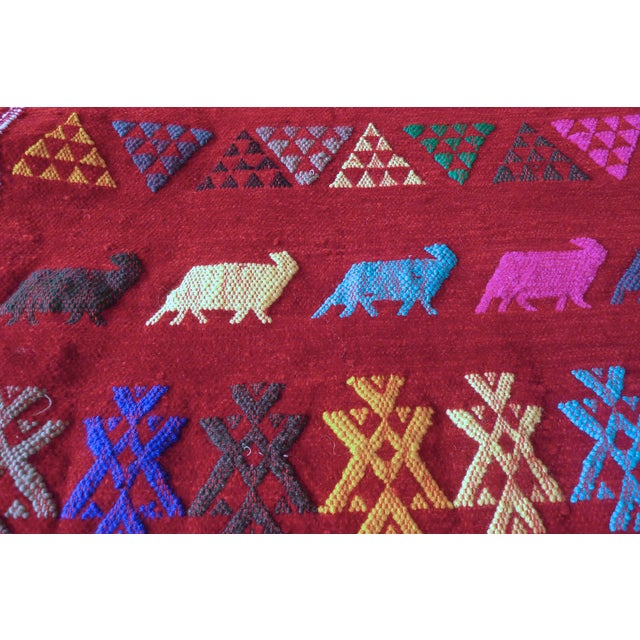 Moroccan Berber Motifs & Animals Rug - 1′8″ × 3′ - Image 7 of 8