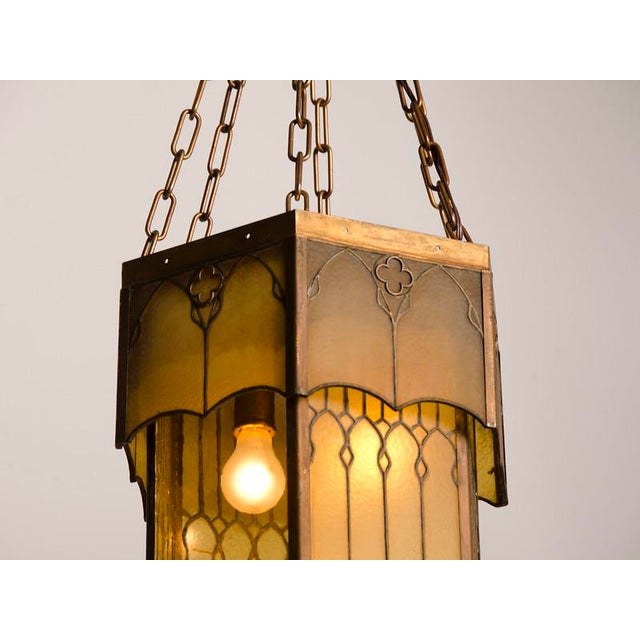 Edwardian English Arts and Crafts Period Tall & Slender Hexagonal Metal Frame & Glass Lantern For Sale - Image 9 of 9