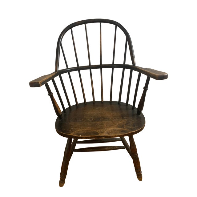 Wooden Windsor Firehouse Chair For Sale