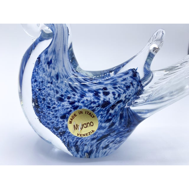 Italian Blue Aventurine Venetian Murano Glass Bird Paperweight For Sale - Image 3 of 9