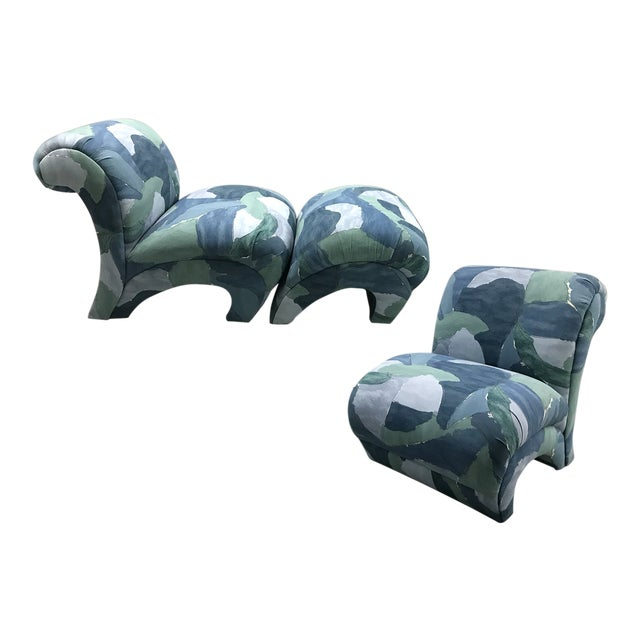 1980s Chairs and Ottoman Upholstered in 'Watercolor' Abstract Fabric For Sale
