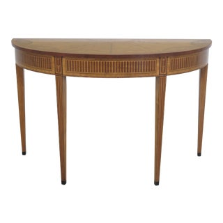 1990s Vintage Adam Style High Quality Highly Inlaid Satinwood Console Table For Sale