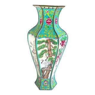 Chinoiserie Turquoise & Green Hex Shaped Enamel Metal Vase
