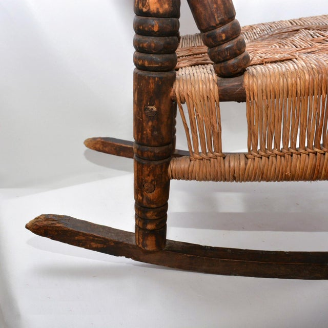 Brown Antique Children's Wood & Wicker Seagrass Armchair Rocker For Sale - Image 8 of 13