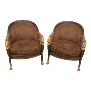 Vintage Mid Century Empire Style Club Chairs- A Pair For Sale