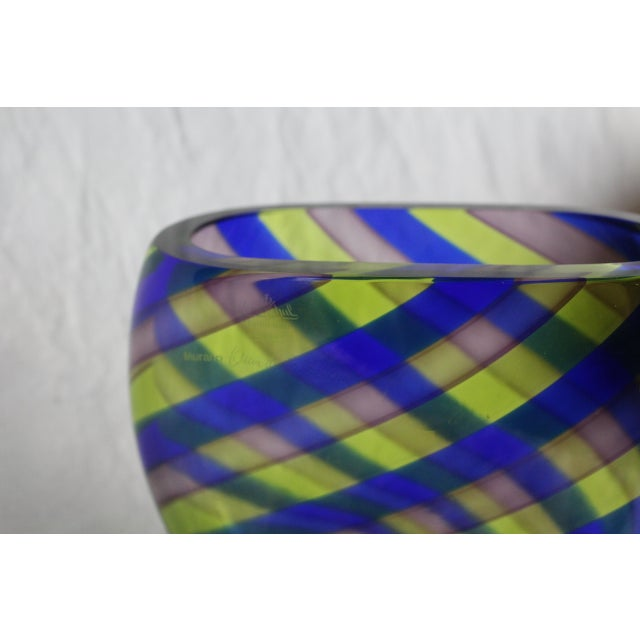 Italian art glass vase with swirled design of cobalt, mauve, and yellow. Marked Rosenthal Studio Line Germany, Murano....