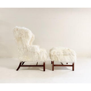 Large Wingback Chair and Ottoman in Angora Goatskin Preview