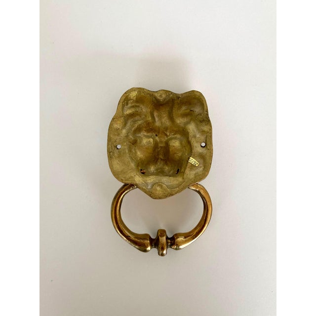 Mid-Century Modern Vintage Brass Lion Door Knocker For Sale - Image 3 of 7