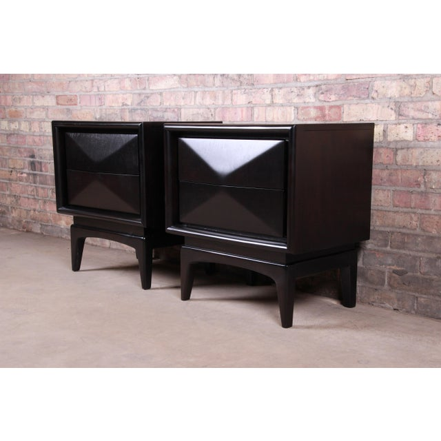 Mid-Century Modern Mid-Century Modern Ebonized Sculpted Walnut Diamond Front Nightstands by United, Newly Refinished For Sale - Image 3 of 11