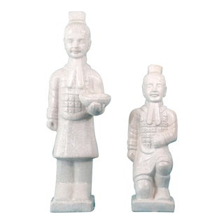 White Ceramic Qin Dynasty Warriors - a Pair