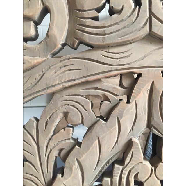 Floral Carved Wood Panels - Set of 3 - Image 8 of 8