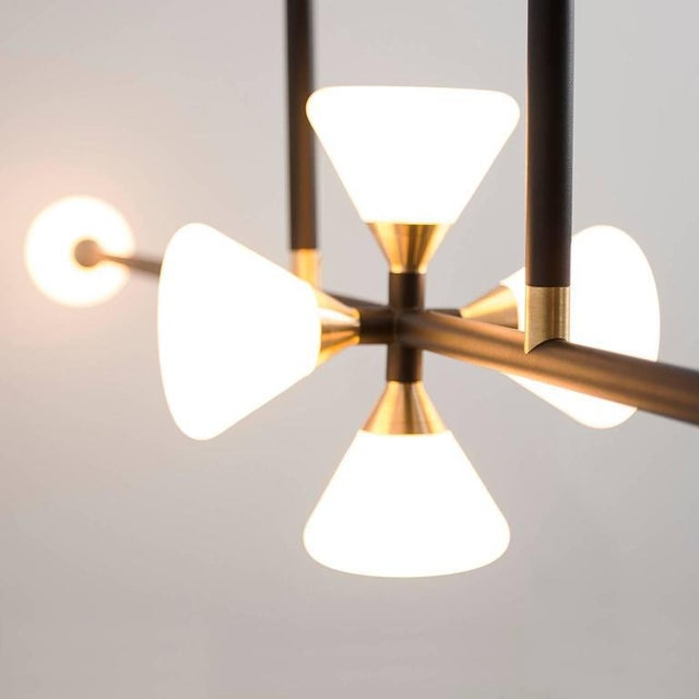 Contemporary McKenzie and Keim - Apollo Six Chandelier - Contemporary Linear Matte Black Led Modern Light Fixture For Sale - Image 3 of 10