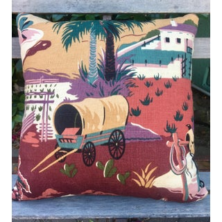 1970s Southwestern Covered Wagon Pillow Preview