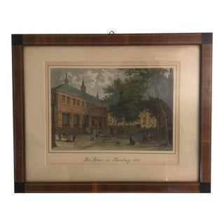 """""""Die Borse in Hamburg 1840"""" Hand Colored Lithograph For Sale"""