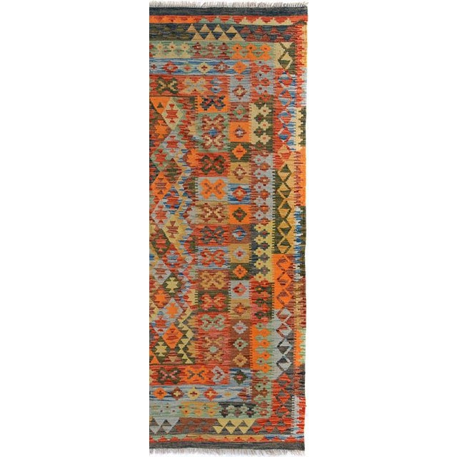 Textile Arya Rickie Blue/Orange Wool Kilim Rug - 4'10 X 6'9 A9368 For Sale - Image 7 of 7