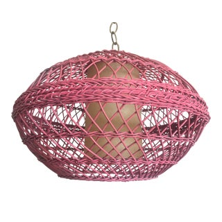 1960s Pink Wicker Pendant For Sale