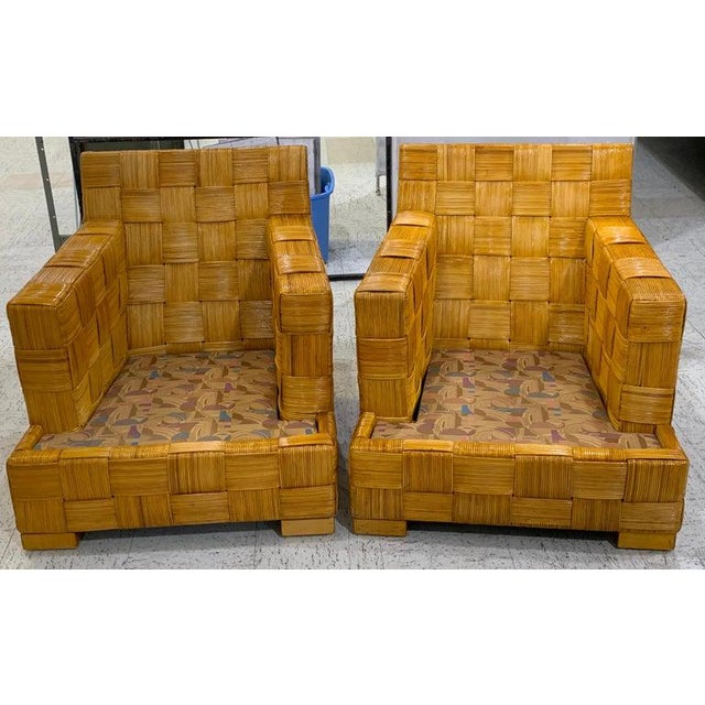 "Late 20th Century Pair of Donghia Woven Rattan ""Block Island"" Club Chairs by John Hutton For Sale - Image 5 of 12"
