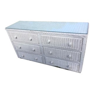 White Wicker Dresser Glass Top For Sale