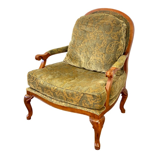 Vintage Walnut Drexel Heritage Upholstered Bergere Chair For Sale