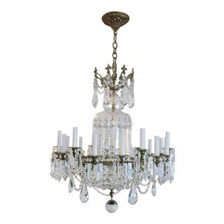 1940s Empire Style Bronze and Crystal 24 Light Chandelier For Sale