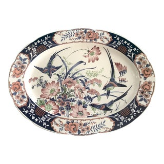 Toyo Blue and Coral Hummingbird Platter For Sale