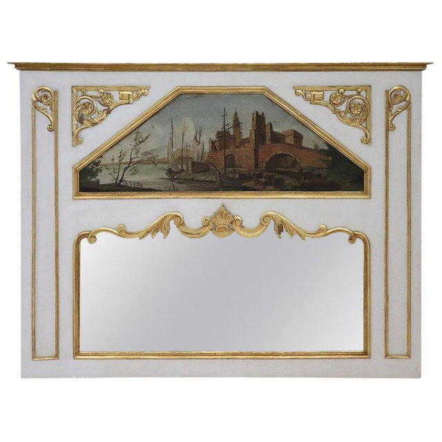 20th Century, Italian Louis XVI Style Wood Lacquered and Gilded Fireplace Mirror For Sale