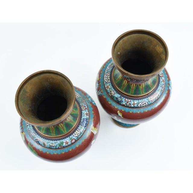 Late 19th Century Cloisonné Floral Decorative Vases - a Pair For Sale - Image 4 of 13
