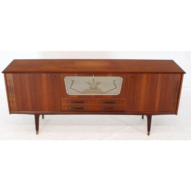 Danish Teak Long Sideboard Credenza With Art Deco Style Etched Glass Insert For Sale - Image 11 of 11