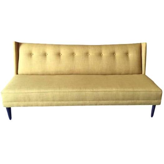 Mid-Century Style Custom Mustard Sofa For Sale