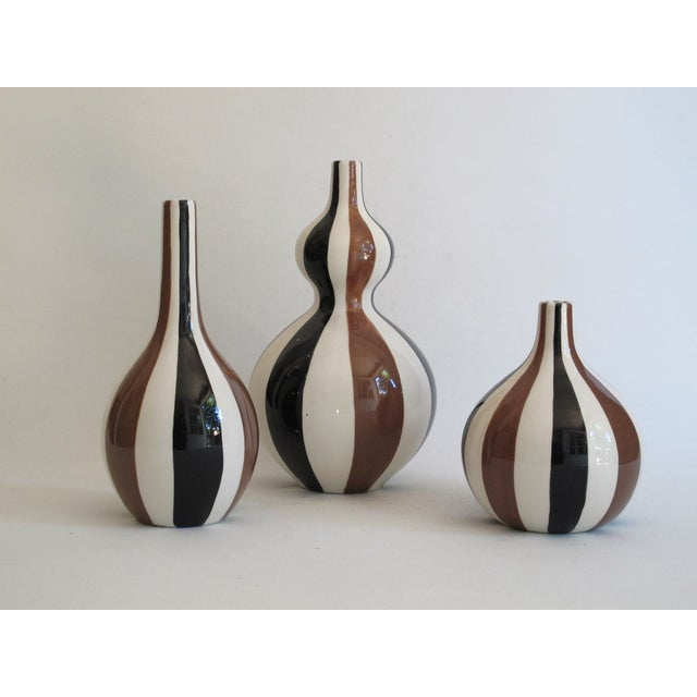 Jonathan Adler Striped Vase Collection- Set of 3 For Sale - Image 5 of 6