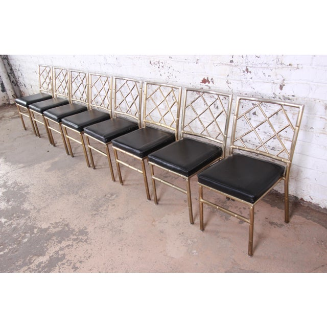 Asian Mid-Century Modern Hollywood Regency Faux Bamboo Brass Dining Chairs - Set of 8 For Sale - Image 3 of 13