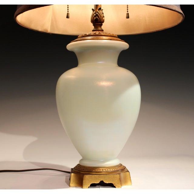 Steuben Glass Antique Steuben Glass Ivrene Aurene Iridescent Vase Lamp Art Deco Gilt Bronze For Sale - Image 4 of 11
