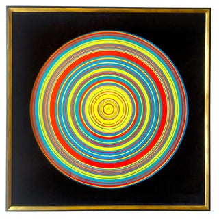 """ Tadasky "" Tadasuke Kuwayama Rare Vintage 1968 Mid Century Modern Framed Op Art Lithograph Print "" Whirling Circles "" For Sale"