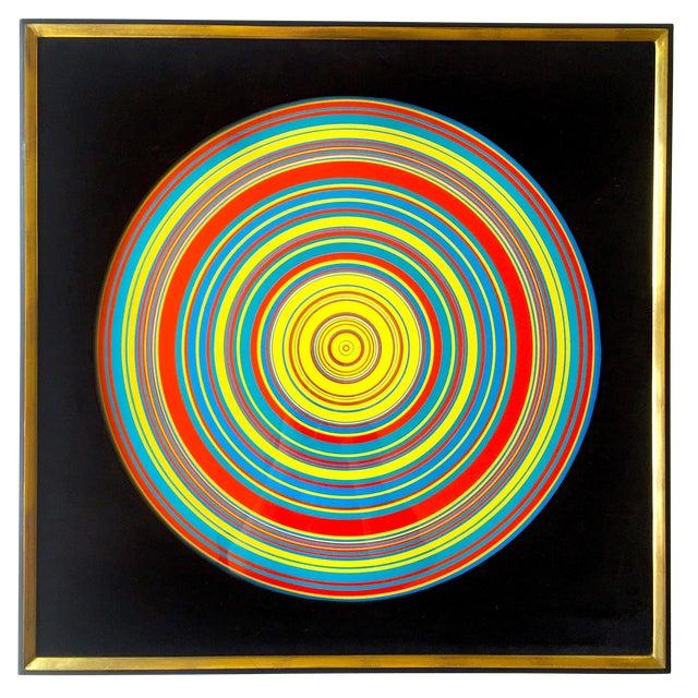 """ Tadasky "" Tadasuke Kuwayama Rare Vintage 1968 Mid Century Modern Framed Op Art Lithograph Print "" Whirling Circles "" For Sale"