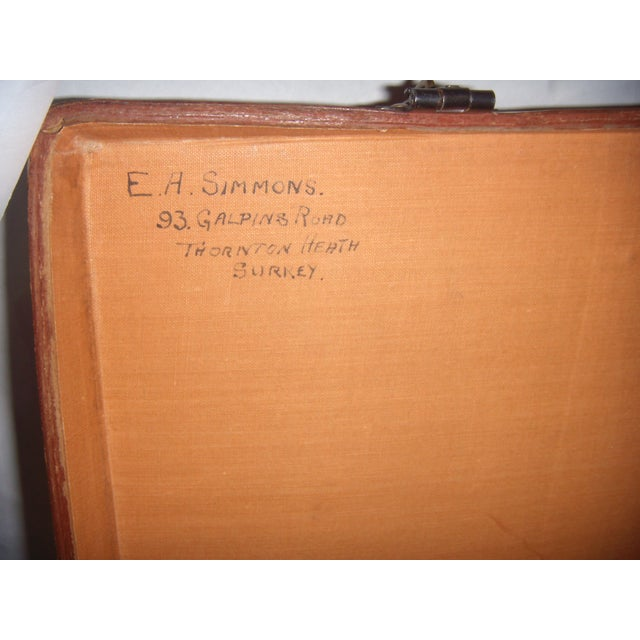 Vintage English Brown Leather Suitcase - Image 9 of 11