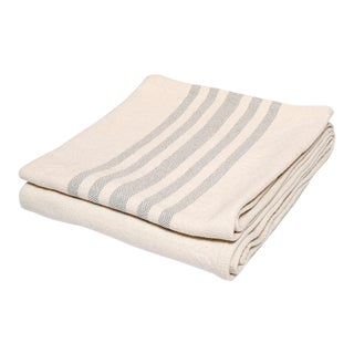 Contemporary Cotton Grey Stripe Throw For Sale