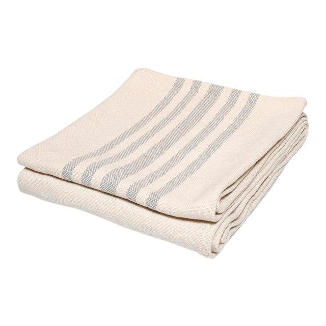 Contemporary Cotton Grey Stripe Throw For Sale