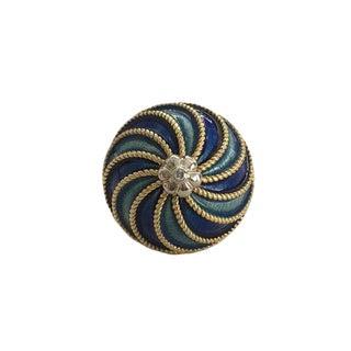 Vintage 18k Gold Enamel Domed Cocktail Ring For Sale