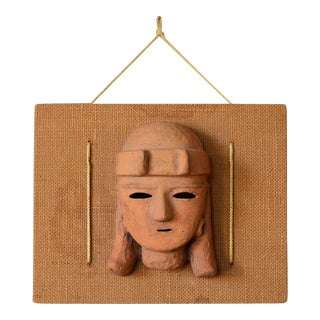 Mid-Century Primitive Aztec Clay Mask Wall Hanging Sculpture For Sale