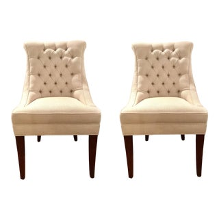 Modern Pearson White Tufted Destiney Slipper Chairs Pair For Sale
