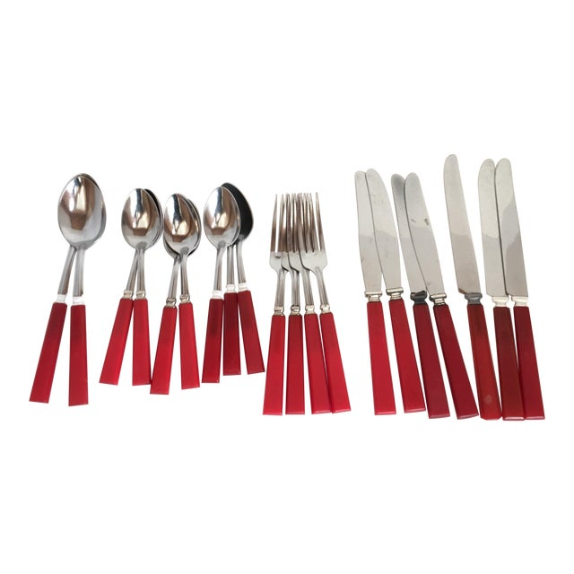 Mid Century Red Bakelight Silverware Collection For Sale