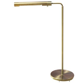 Long Cylinder Form Brass Reading Floor Lamp by Casella For Sale