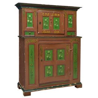 18th Century Swedish Country Pine Painted Cupboard For Sale