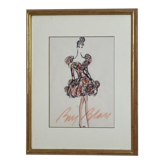 Bill Blass Fashion Sketch, Cocktail Dress For Sale