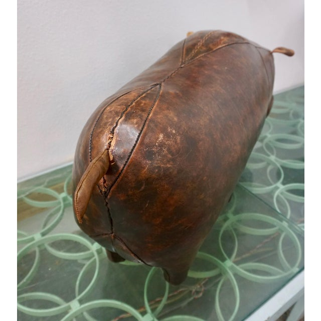 1970s 1970s Vintage Omersa for Abercrombie + Fitch Leather Hippo Ottoman For Sale - Image 5 of 9