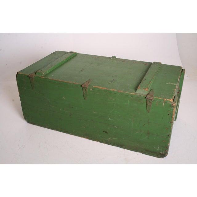 Vintage Military Green Wood Foot Locker - Image 4 of 11