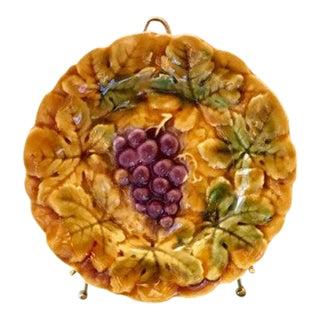 Antique Sarruguemines Majolica Grape Plate